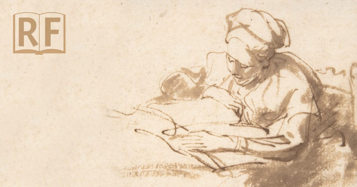 ink drawing of a person spending their time reading a book of suttas